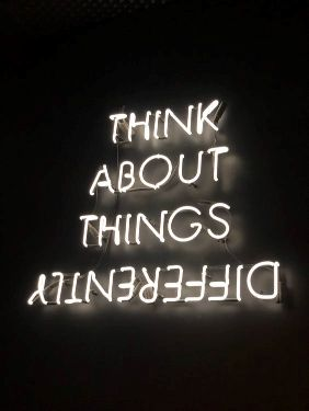 think about different things neon signage